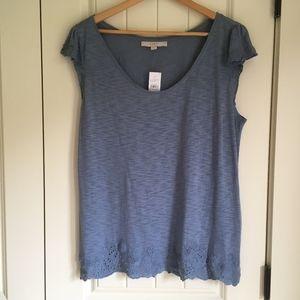 LOFT Blue Knit top NWT